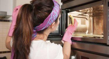 Lugt fra mikrobølgeovnen: hvordan man rengør med dokumenterede produkter